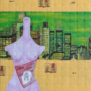 CITY OF SILK by riddhima sharraf, Fantasy Painting, Oil & Acrylic on Canvas, Beige color