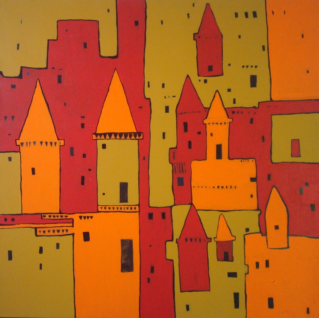 Untitled by Sanjay Kumar Singh, Traditional Painting, Acrylic on Canvas, Brown color