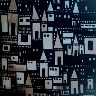 Banaras by Sanjay Kumar Singh, Traditional Painting, Acrylic on Canvas, Blue color