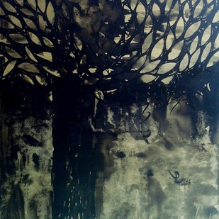 VAT VRIKSH by Sanjay Kumar Singh, Impressionism Painting, Acrylic on Canvas, Gray color