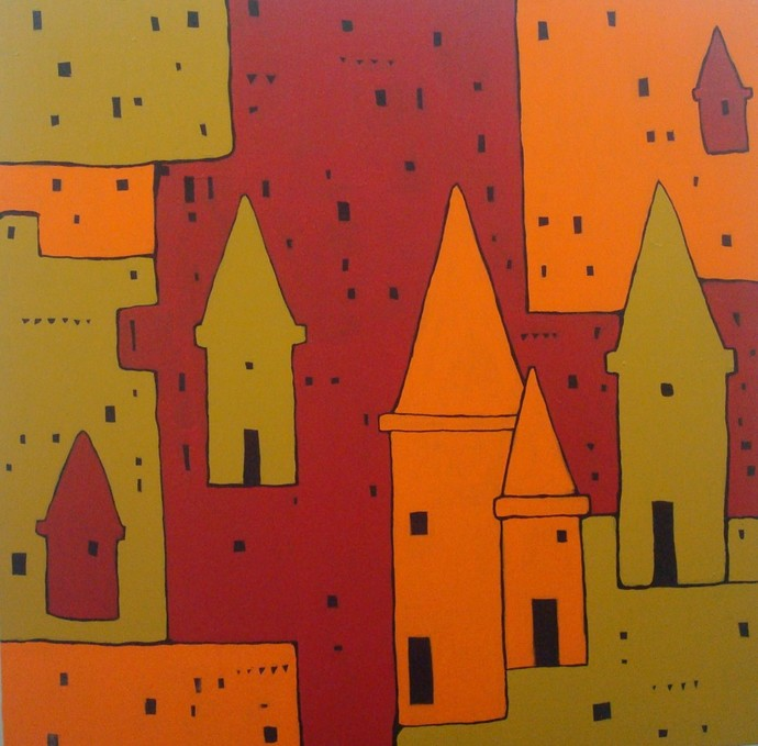 Banaras by Sanjay Kumar Singh, Traditional Painting, Acrylic on Canvas, Brown color