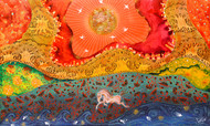 Galloping the Mindscape by Pragati Sharma Mohanty, Fantasy Painting, Mixed Media, Orange color