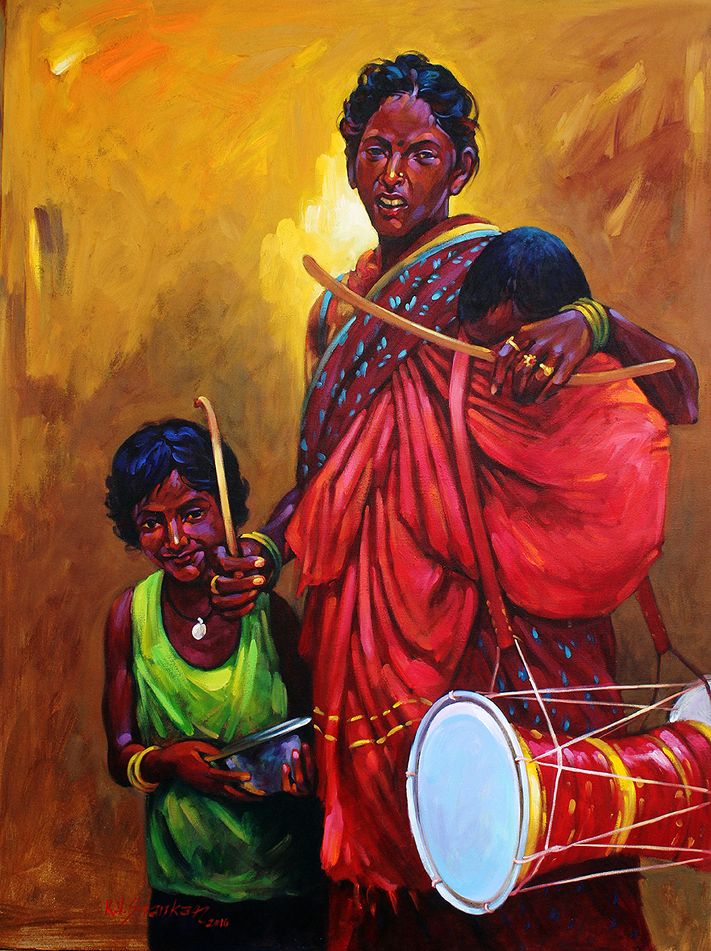 mother & child-1 by K V Shankar, Expressionism Painting, Acrylic on Canvas, Brown color