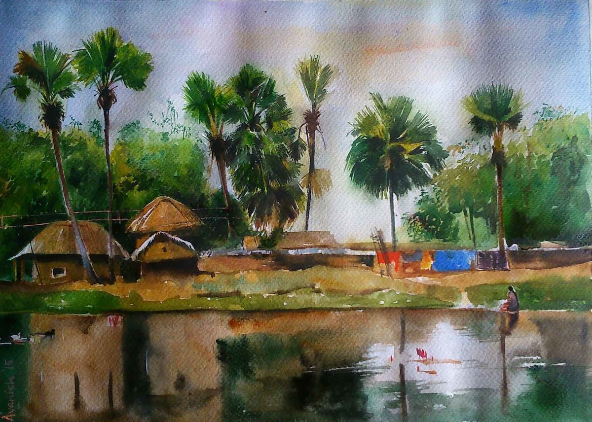 Bolpur Greens!! by Avanish Trivedi, Impressionism Painting, Watercolor on Paper, Green color
