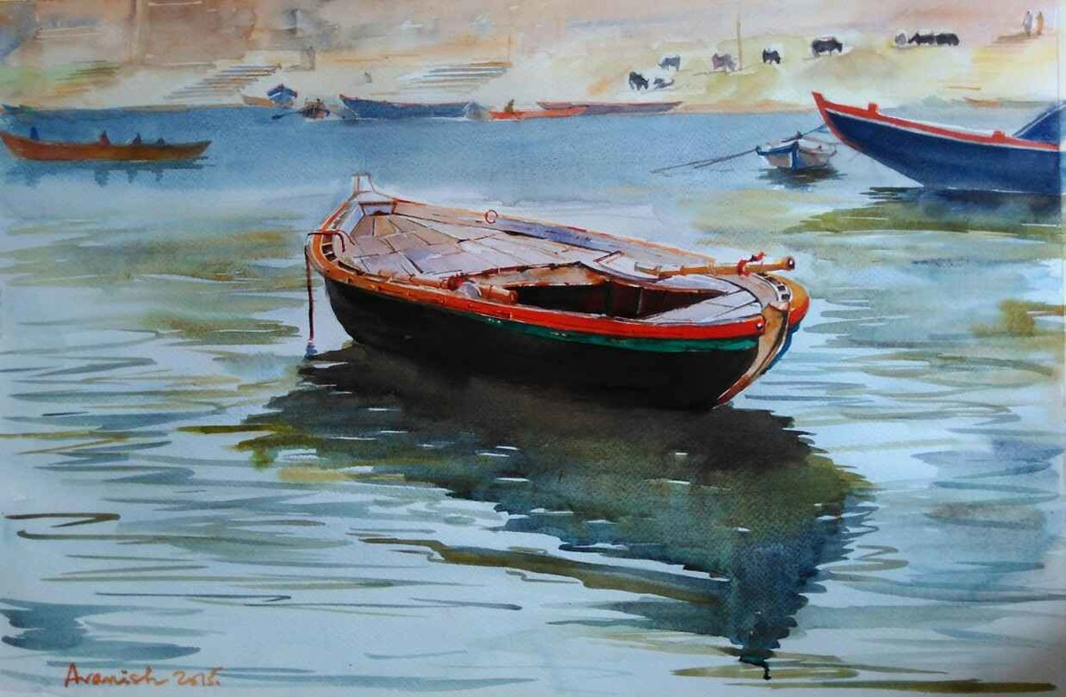 PEACE... by Avanish Trivedi, Impressionism Painting, Watercolor on Paper, Green color