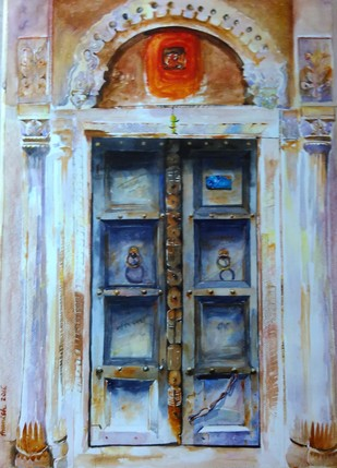 Nostalgia_2 by Avanish Trivedi, Impressionism Painting, Watercolor on Paper, Cyan color