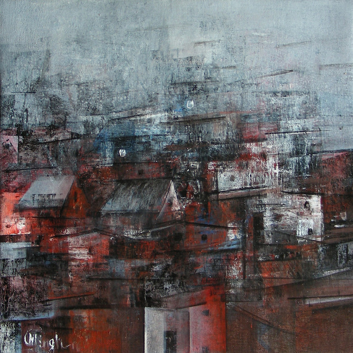 Reflection of City by M Singh, Impressionism Painting, Acrylic on Canvas, Brown color