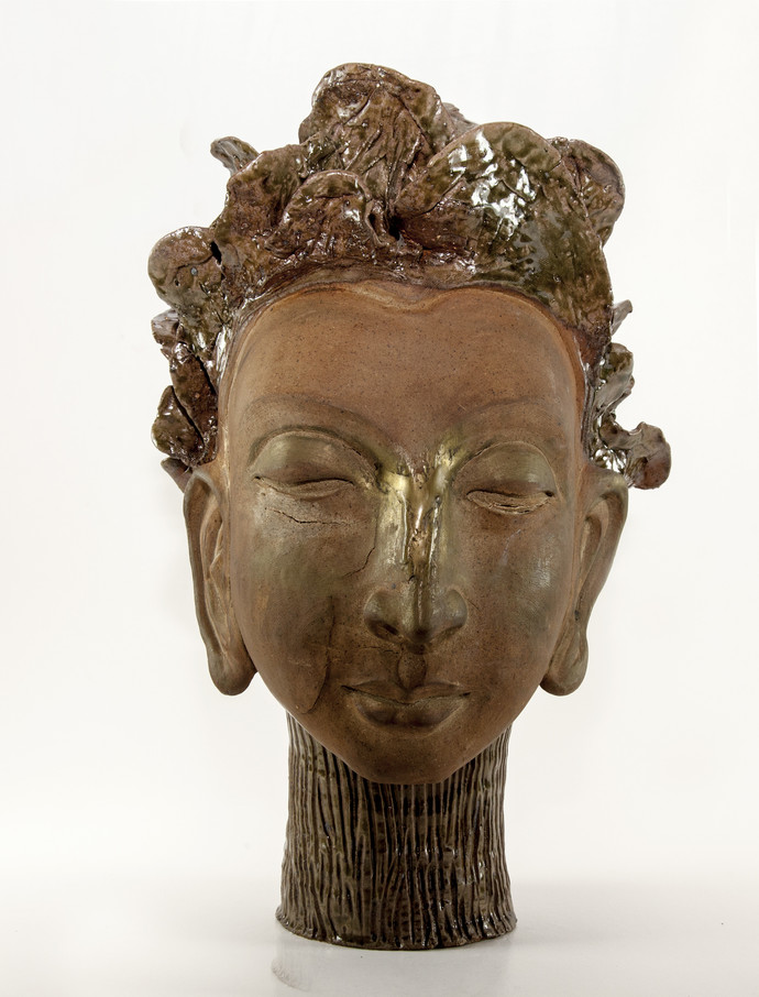 Nature Goddess by Milan SIngh, Expressionism Sculpture | 3D, Ceramic, Brown color