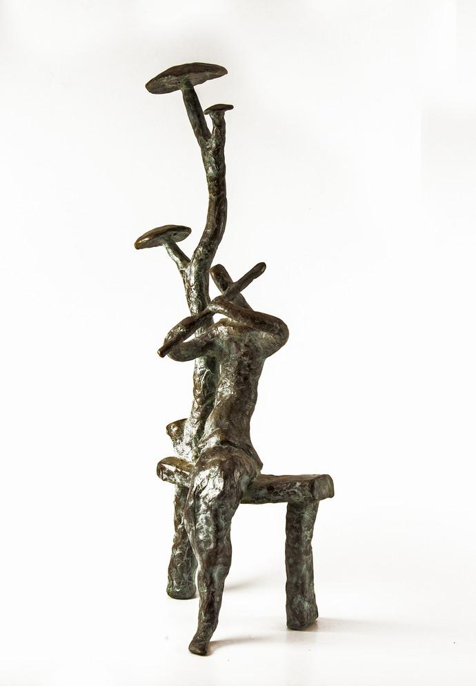 Flute Player by Tushar Kanti Das Roy, Decorative, Decorative Sculpture | 3D, Bronze, White color