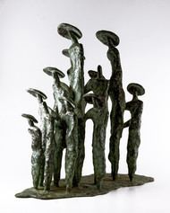Gathering-2 by Tushar Kanti Das Roy, Decorative, Impressionism Sculpture | 3D, Bronze, Gray color