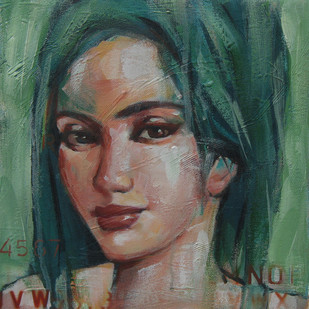 Expression Series by Anindya Mukherjee, Expressionism Painting, Acrylic on Canvas, Green color