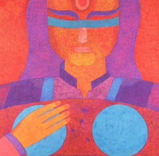 GANDHARI, mother of ninety nine dead sons by Amit Biswas, Expressionism Painting, Tempera on Paper, Purple color