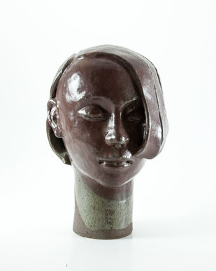 Head-3 by Prasenjit Sengupta, Expressionism Sculpture | 3D, Ceramic, White color