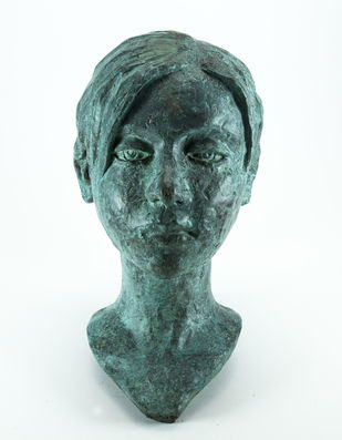 Head-1 by Prasenjit Sengupta, Expressionism Sculpture | 3D, Bronze, White color