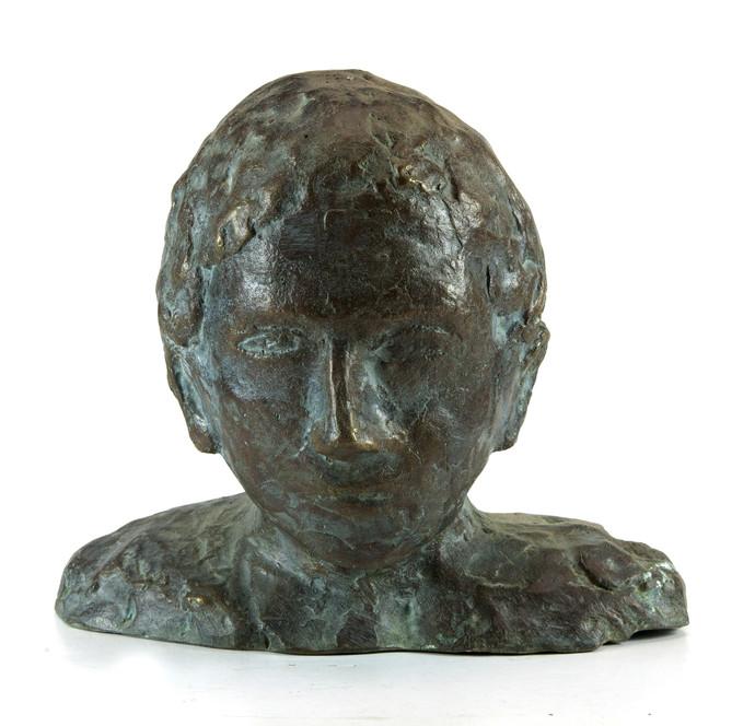 Head-1 by Maite Delteil, Expressionism Sculpture | 3D, Bronze, White color