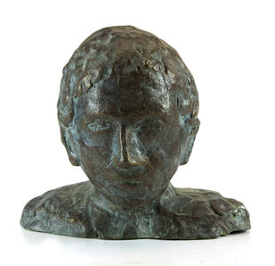 Head-1 by Maite Delteil, Expressionism Sculpture | 3D, Bronze, White color