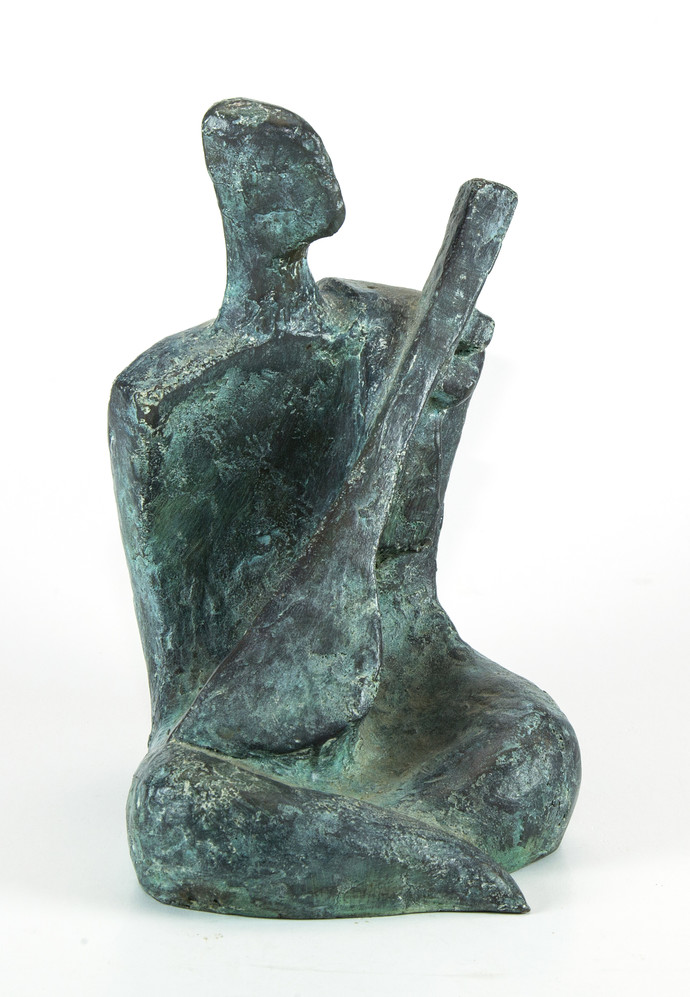 Musician by Tushar Kanti Das Roy, Decorative Sculpture | 3D, Bronze, White color