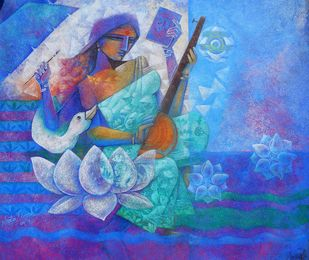 Veenavadini by Neeta Singh, Expressionism Painting, Acrylic on Canvas, Blue color