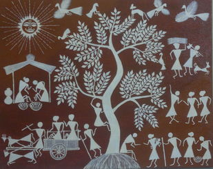 Villagers Life by MUKTA GUPTA, Traditional Painting, Acrylic & Graphite on Canvas, Brown color