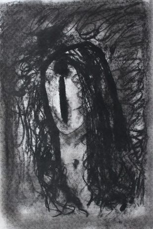 Woman by Sanjay Kumar Singh, Impressionism Drawing, Charcoal on Paper, Gray color