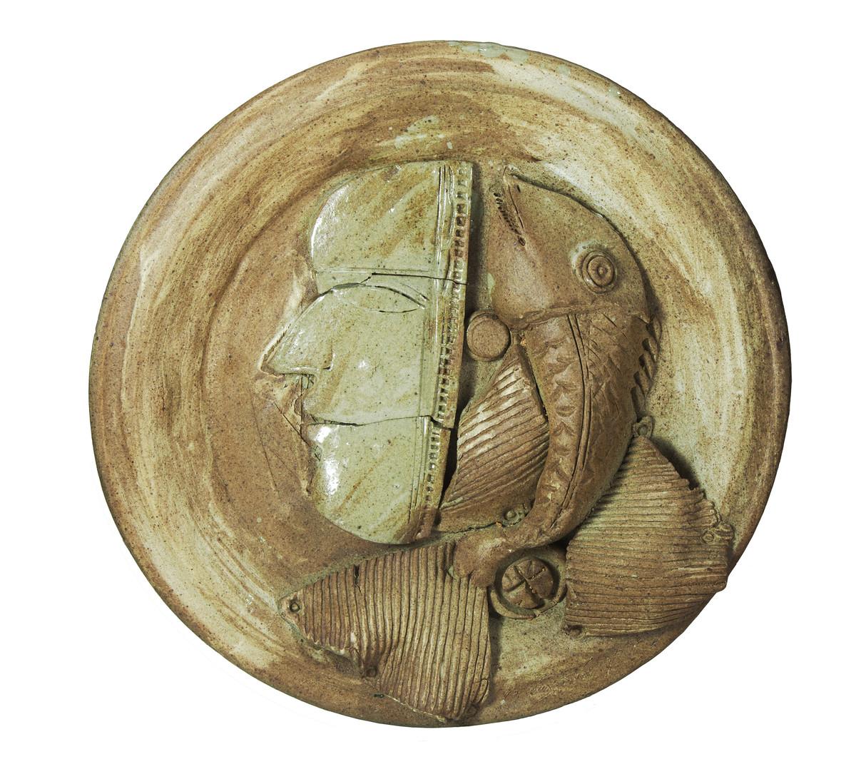 Platter-3 by Laxma Goud, Decorative Sculpture | 3D, Ceramic, Beige color
