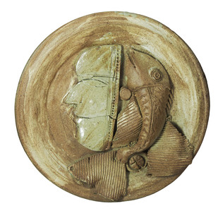 Platter-3 by Laxma Goud, Decorative Sculpture | 3D, Ceramic, Beige color