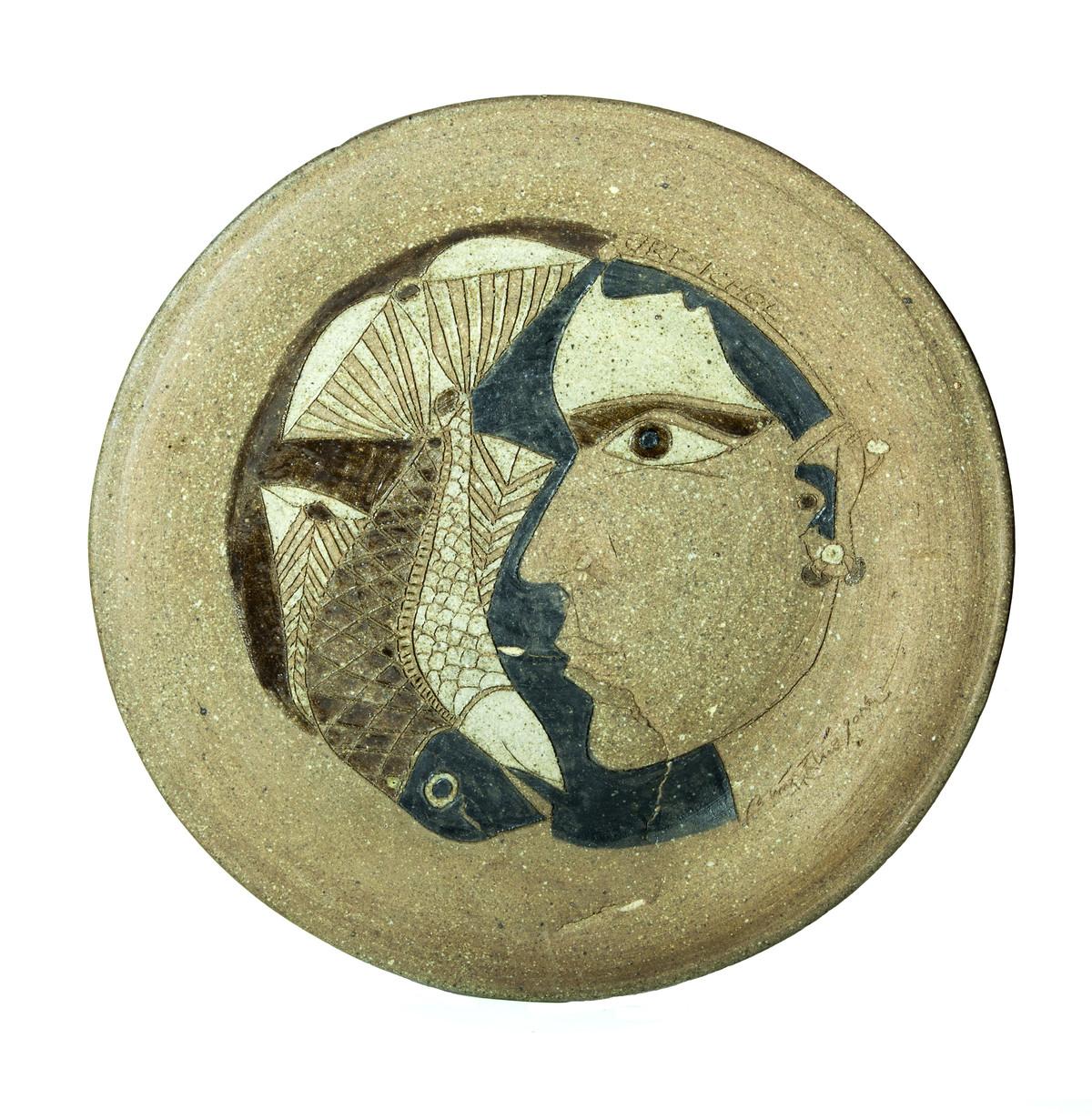 Platter-4 by Laxma Goud, Decorative Sculpture | 3D, Ceramic, Beige color