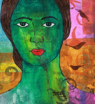 harvest by Priyanka Waghela, Expressionism Painting, Acrylic on Canvas, Green color