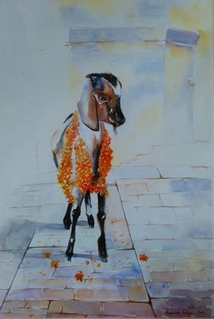 INNOCENCE by Avanish Trivedi, Impressionism Painting, Watercolor on Paper, Green color