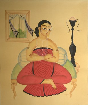 The Courtesan by KALAM PATUA, Folk Painting, Water Based Medium on Paper, Beige color