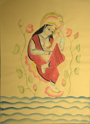 Saraswati - The Goddess of Learning by KALAM PATUA, Folk Painting, Water Based Medium on Paper, Beige color