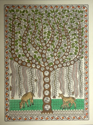 Tree of Life with All Creatures by PRADYUMNA KUMAR, Folk Drawing, Acrylic & Ink on Paper, Beige color