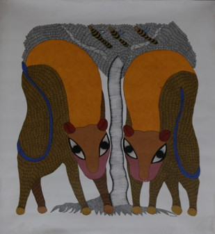 Tigers by MANGRU UIKEY, Folk Painting, Acrylic on Canvas, Brown color