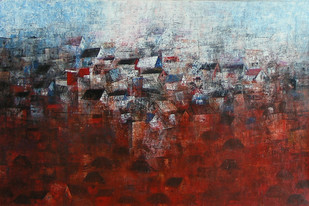 View of shanties up a hill by M Singh, Abstract Painting, Acrylic on Canvas, Brown color