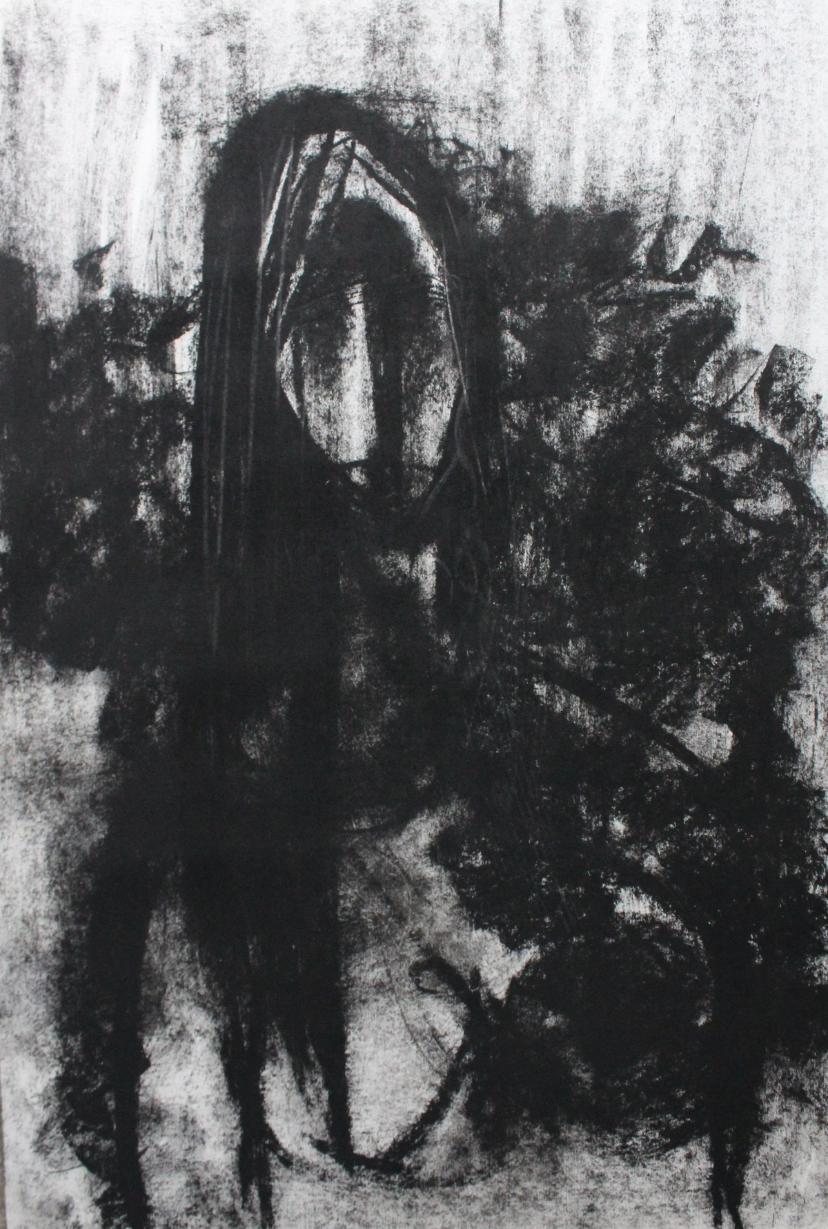 Woman by Sanjay Kumar Singh, Expressionism Drawing, Charcoal on Paper, Gray color