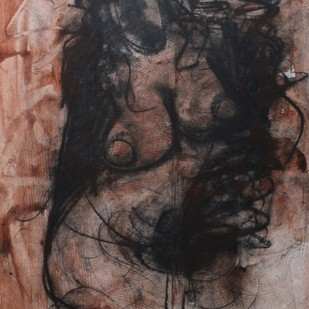 Woman by Sanjay Kumar Singh, Expressionism Drawing, Charcoal on Paper, Brown color