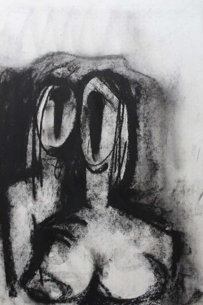 Side By Side by Sanjay Kumar Singh, Expressionism Drawing, Charcoal on Paper, Gray color