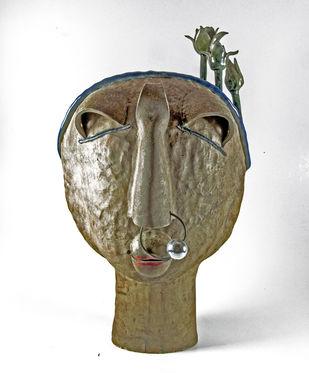 Chhamiya by Chirayu Kumar Sinha, Traditional Sculpture | 3D, Ceramic, Gray color