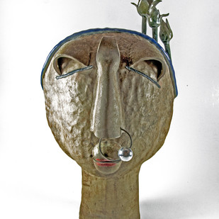 Chhamiya by Chirayu Kumar Sinha, Traditional Sculpture | 3D, Ceramic, Gray color