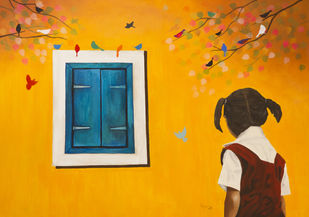 A Window lived in a wall by Priyanka Waghela, Expressionism Painting, Acrylic on Canvas, Orange color