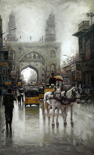 Charminar wet St by Iruvan Karunakaran, Expressionism Painting, Acrylic on Canvas, Gray color
