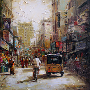 Busy Street by Iruvan Karunakaran, Expressionism Painting, Acrylic on Canvas, Brown color