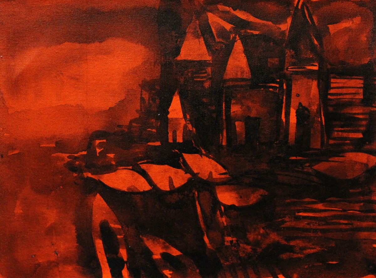 Banaras by Sanjay Kumar Singh, Expressionism Painting, Acrylic on Canvas, Brown color