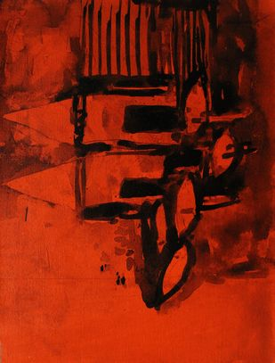 Banaras by Sanjay Kumar Singh, Expressionism Painting, Acrylic on Canvas, Red color