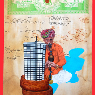 The Stamp of Life by Malchand Pareek, Fantasy Painting, Mixed Media on Canvas, Beige color
