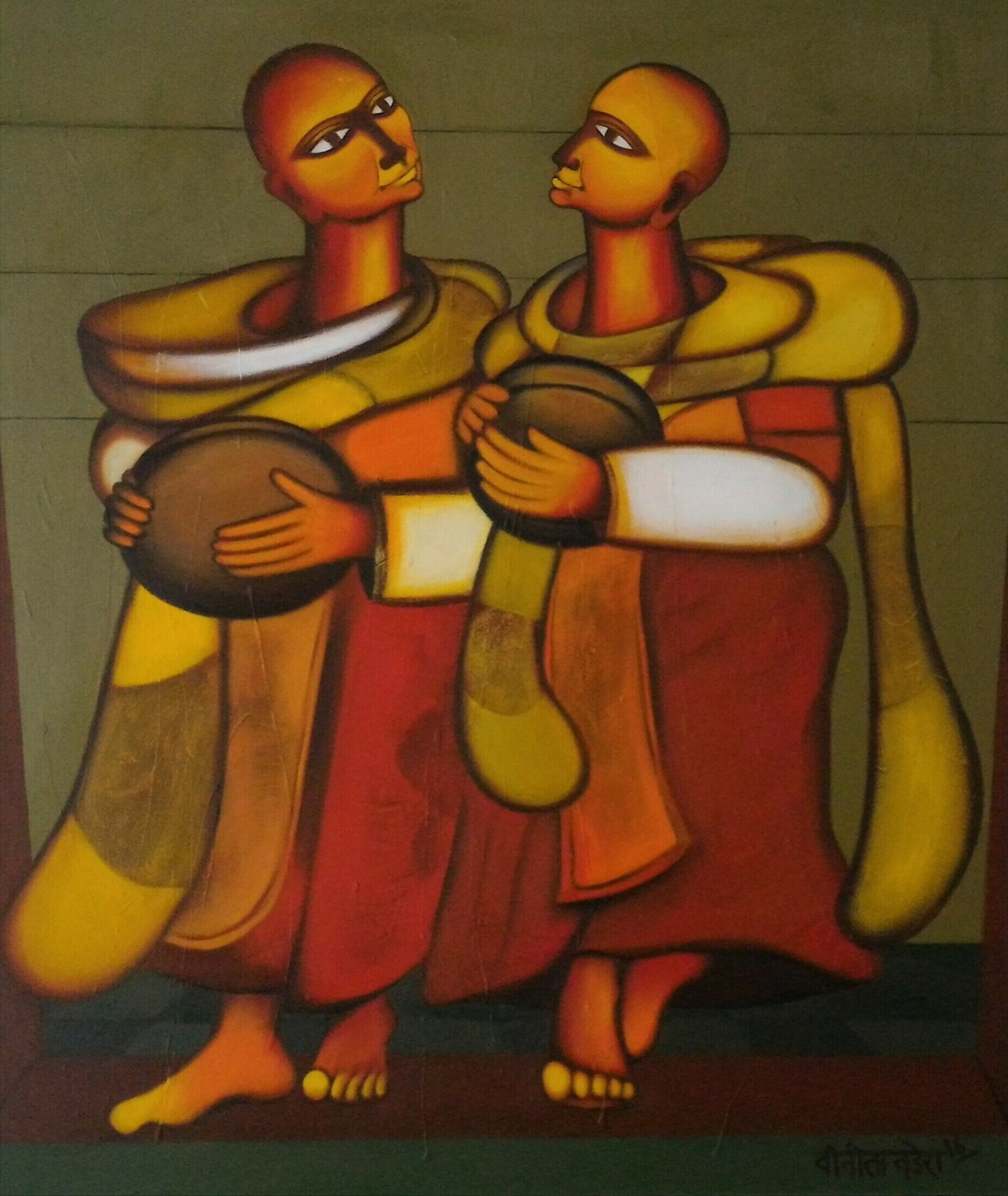 BHIKSHU II by Vineeta Vadhera, Expressionism Painting, Acrylic on Canvas, Brown color