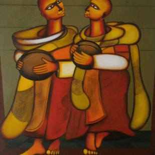 BHIKSHU II by Vineeta Vadhera, Expressionism Painting, Acrylic on Canvas, Brown color