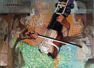 samvad(conversation)3/1 by Ramchandra Kharatmal, Impressionism Painting, Acrylic on Canvas, Brown color