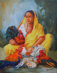 Cock seller by bhandare m k, Expressionism Painting, Acrylic on Canvas, Brown color