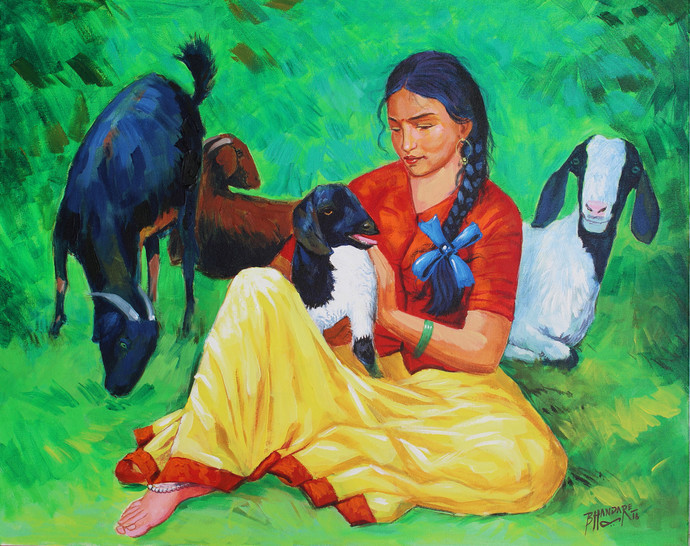 Girl with goats by bhandare m k, Expressionism Painting, Acrylic on Canvas, Green color